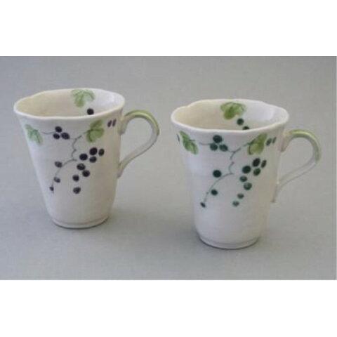 カップ ソーサー ケーキ皿 花柄 山ぶどう ペアマグ(2個セット) 葡萄 ペアコーヒーカップ