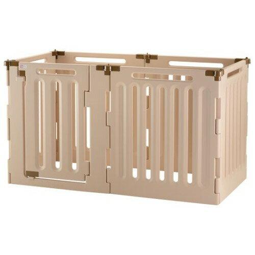 犬用サークル ゲート 居住スペースの間仕切りに… 簡単 ペット用 3WAYサークル 6面90H ベージュ(BE):創造生活館