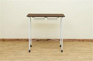 バーテーブルオフィスデスクメッシュカゴカウンターテーブルキャスター付きカラー:ウォールナット