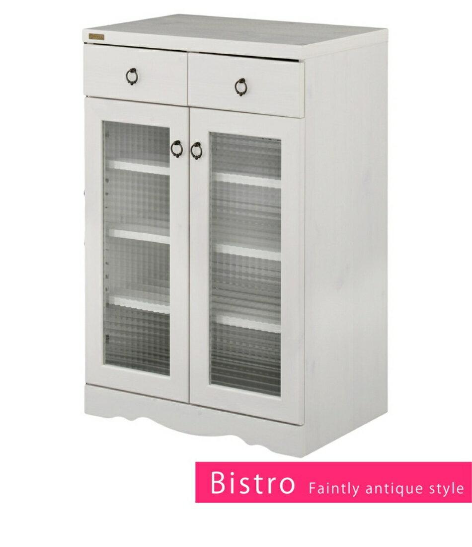 飾り 収納 棚 Bistro(ビストロ)食器棚 キャビネット(引き出し付き・60cm幅)
