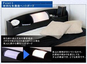 棚照明付フロアベッドセミシングル二つ折りポケットコイルスプリングマットレス付