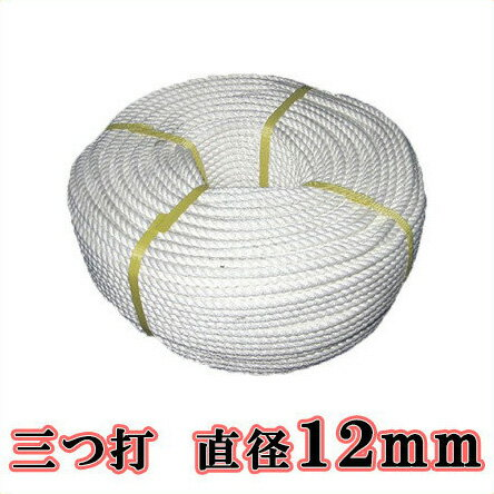 【送料無料】生川 ビニロンS ロープ 3つ打 直径12mm 長さ200m[繊維ロープ 非難グッズ 防災グッズ 防災ロープ 非難ロープ 縄 白色]