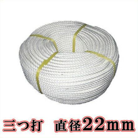 【送料無料】生川 ビニロンS ロープ 3つ打 直径22mm 長さ30m[繊維ロープ 非難グッズ 防災グッズ 防災ロープ 非難ロープ 縄 白色]