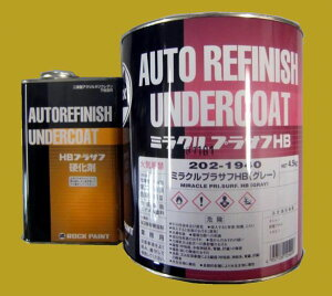 二液膜厚型変性アクリルウレタン下地塗料202-1940 ミラクルプラサフHB(グレー) 硬化剤付セ...