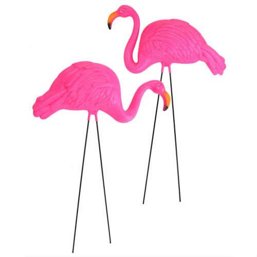 エクステリア・ガーデンファニチャー, ガーデンオーナメント・置物 Large Bright Pink Flamingo Yard Ornament 2