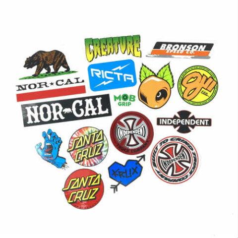 SKATEBOARD BRAND ASSORTED STICKER 15 PACK スケートボード ブランド ステッカー パック 15枚セット アメリカ アメリカン シール SCREAMING HAND スクリーミングハンド SKATEBOARD スケートボード スケボー