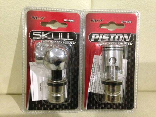 Pilot Automotive Skull&Piston Cigarette Lighter スカルとピストンのシガライター12V アメリカ・アメ車・骸骨・髑髏・カー用品・タバコ・たばこ・煙草