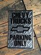 CHEVY TRUCKS Sign シボレー シェビー トラックス・サインプレート☆アメリカ看板☆アンティーク・ブリキ・ビンテージ・ガーデン・ガーデニング・バー・ガレージ・倉庫・レトロ