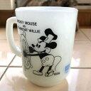 Fire King Mickey Mouse as Steamboat Willie PEPSI Mug ファイヤーキング ミッキーマウス トゥデイ ペプシ マグカップ ホワイト中古 海外輸入 中古品 マグカップ USA ビンテージ アメリカ ミルクグラス アンカーホッキング ディズニー Disney