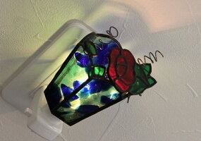 【ステンドグラス】おやすみランプ薔薇