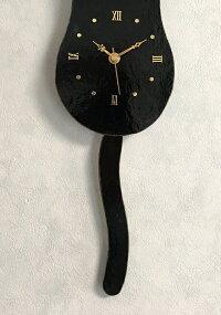 【ステンドグラス】ネコ時計(黒猫)【オリジナル】