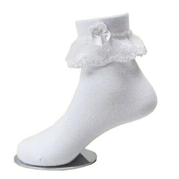 【追跡ゆうパケット送料無料】子供用レースソックス かわいいリボン付き 女の子キッズ靴下 【2〜12歳 各サイズ】