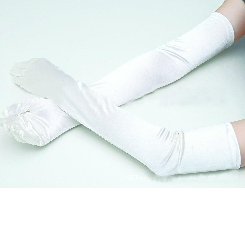 【追跡番号付き】フォーマル ストレッチサテン ロング手袋 光沢ホワイト フリーサイズ 白