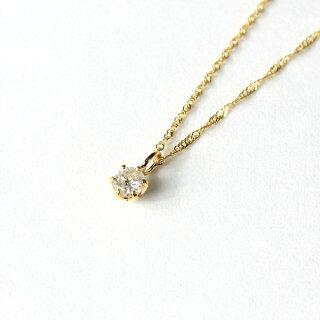 18金イエローゴールドダイヤモンド0.1ctペンダントネックレス