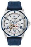 BULOVA 98A225 ブローバ マリンスター メンズ 自動巻 オートマ ウォッチ 時計 ホワイト ブルー ラバーベルト 200m防水