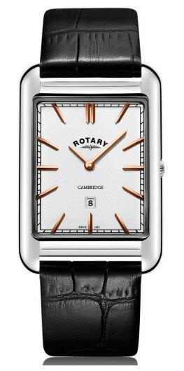 ROTARY GS05280/02 ロータリー ウォッチ 腕時計 時計 レザーベルト メンズ シルバー 角 スクエア 薄型