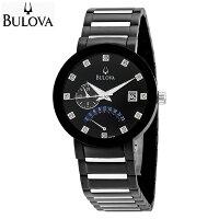BULOVAブローバ12pダイヤモンドメンズドレスウォッチブラック腕時計98D109【送料無料】【代引手数料無料】