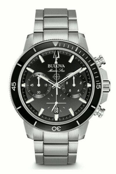 BULOVA 96B272 ブローバ マリンスター メンズ クロノグラフ ウォッチ 腕時計 ブラック 200m防水【ベルト調整無料】【smtb-KD】
