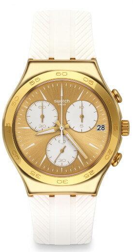 SWATCH IRONY CHRONO YCG415 スウォッチ クロノグラフ メンズウォッチ 腕時計 ゴールド ホワイト 【代引き手数料無料】