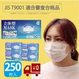 JIS合格マスク 不織布 一般用 250枚 (50枚入×5箱)【大好評発売中】 T9001適合審査合格品 (適合番号 G42107010) 不織布マスク プリーツ型 立体 一般用 使い捨て ホワイト 大人用マスク ふつうサイズ 衛生マスク 息がしやすい 呼吸しやすい ウイルス対策