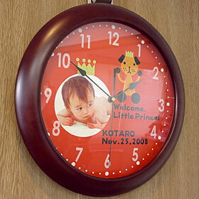 Put the original watch birth 内 祝 I name MY photo type HAPPY baby kids wooden wall clock 10P28oct13