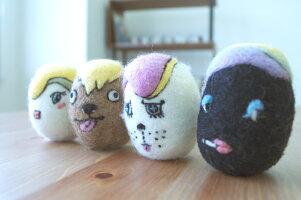 WOOLから生れた卵形のおもちゃketama/けたま(4個セット:フィリ、ルー、ミル、クロ)【いぬ・ねこのおもちゃ】