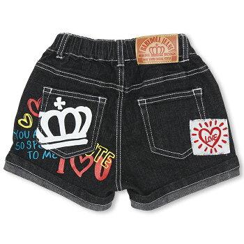 ラクガキデニムショートパンツ-子供服ベビーキッズ男の子女の子ベビードールBABYDOLLstarvations-9701K_fw_hpn