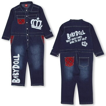 デニム つなぎ 0983K ベビードール BABYDOLL ベビー キッズ 男の子 女の子 サロペット オーバーオール 前ボタン