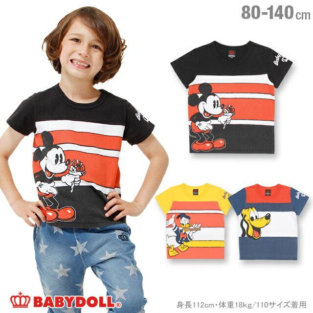 be5b9717901cc0 【S50】BABYDOLL 親子ペア ディズニー ボーダーキャラクターTシャツ-子供服 男の子 女の子