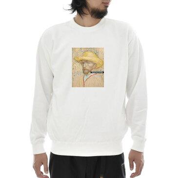 【アートトレーナー】ゴッホ トレーナー 麦わら帽子を被った自画像 1887年夏 フィンセント・ファン・ゴッホ Life is ART ライフ イズ アート スウェット メンズ レディース 大きいサイズ ビック おしゃれ 絵画 名画 S M L XL XXL ホワイト 白 ブランド
