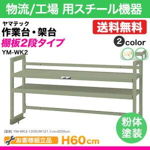 ワークテーブル架台/棚板2段タイプ(ワークテーブルオプション):表示寸法:幅151.1cm×奥行30cm×高さ60cm質量(24.0)kg