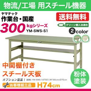 ワークテーブル(作業台)固定式中間棚付き:YM型300シリーズ