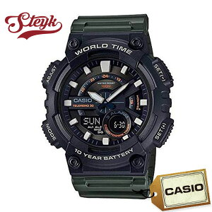 CASIO AEQ-110W-3A カシオ 腕時計 アナデジ STANDARD スタンダード メンズ ブラック カーキ カジュアル