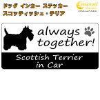 スコティッシュ・テリア scottish terrier in Car ステッカー プリントタイプ 【dog in car ドッグ インカー 犬 シール デカール】【文字変更可】 ラッキーシール