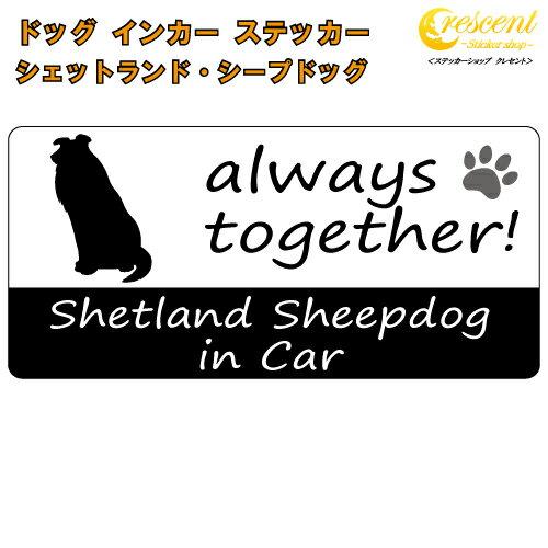シェットランド・シープドッグ shetland sheepdog in Car ステッカー プリントタイプ 【dog in car ドッグ インカー 犬 シール デカール】 ラッキーシール