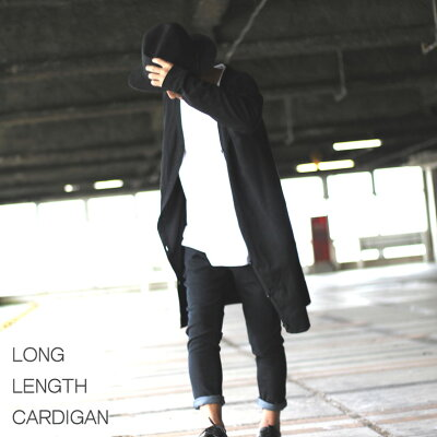 ロング丈カーディガン/モノトーン/ブラックオーバーサイズフリーサイズ黒メンズレディース