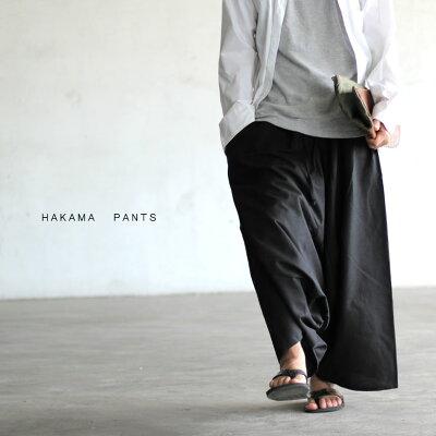 ブラック袴パンツはかまパンツワイドパンツアンクルワイドパンツブラック