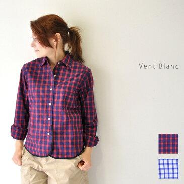 30代〜40代ファッション 【送料無料】ギンガムチェック シャツ トップス シャツ ブラウス レディース コットン100% チェック 日本製 Vent Blanc VB181334 ヴァンブラン楽天カード分割
