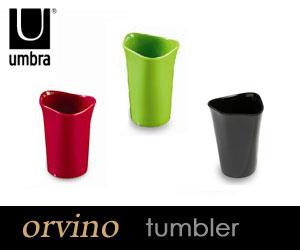 メラミン樹脂を使用し、耐水性に優れ清潔感溢れるタンブラーです。【UMBRA/アンブラ】 orvino ...