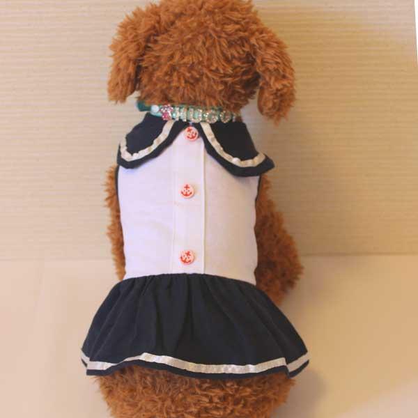 【EC】犬の服 ドッグウェア ガールズセーラーワンピース(ネイビー×ホワイト)(S~XLサイズ) ルイスペット 【代金引換不可/同梱不可】
