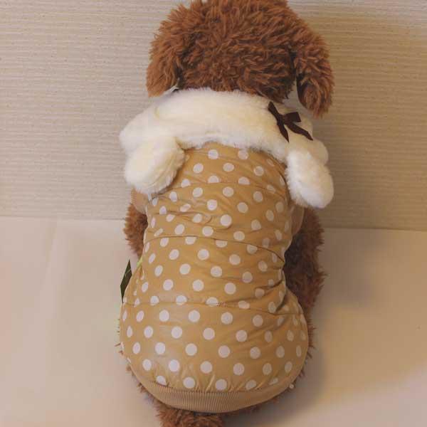 【EC】犬の服 ドッグウェア ラブリー♪うさみみファーのドットコート(ベージュ)(S~XLサイズ)※裏起毛 ルイスペット【代金引換不可/同梱不可】