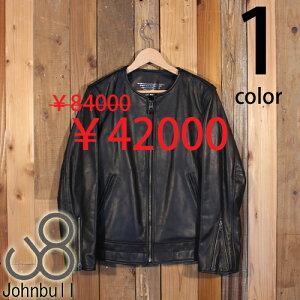 ジョンブル Johnbull カウハイド 牛革 レザー シングル ライダース ジャケット ノーカラー 国産 セール 16632