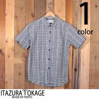 イタズラトカゲItazuraTokageインディゴシアサッカーセミワイドシャツ半袖18-SS-021