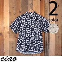 チャオciao猫柄半袖ブロードシャツ28-491