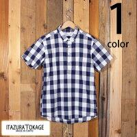 イタズラトカゲItazuraTokageブロードビックギンガムチェックプルオーバーボタンダウンシャツ半袖19-SS-068