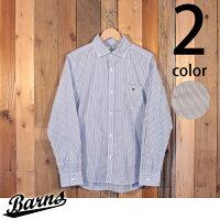 バーンズBarns日本製シャドーシャツストライプボタンダウンブロード長袖BR-7550