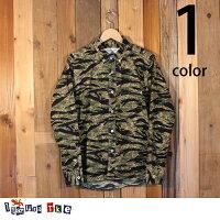 イタズラトカゲItazuraTokageブロードタイガーストライプカモボタンダウンシャツ長袖18-FW-34