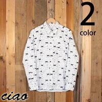 チャオciaoバナナ猫キャット総柄長袖ブロードシャツ29-855