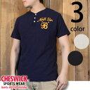 """チェスウィックCHESWICK刺繍チェーンステッチ半袖ヘンリーネックTシャツ""""NorthStar""""CH77312"""