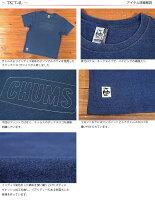チャムスCHUMSステッチドロゴ半袖Tシャツインディゴ刺繍CH01-1341